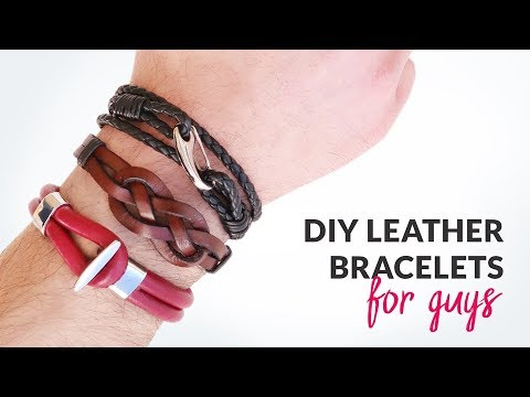DIY 3 Styles of Leather Bracelets for Guys | Gift idea | Curly Made