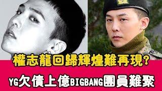 權志龍正式回歸!輝煌難再現? YG欠債上億Bigbang成員難聚|貴圈四姨太|