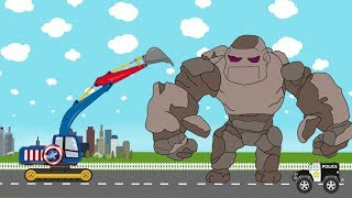 Captain America Excavator Vs Stone Giant | Video for Kids | Koparka Kapitan Ameryka