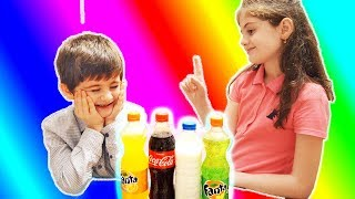 Learn colors for kids Funny children playing with her sister drinking water
