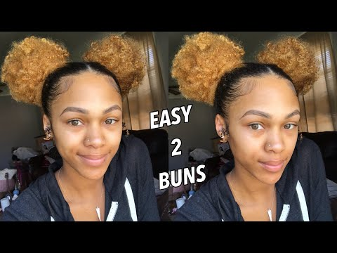 Easy Double Buns on Curly Natural Hair