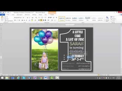 1st Birthday Invitation Template for MS Word