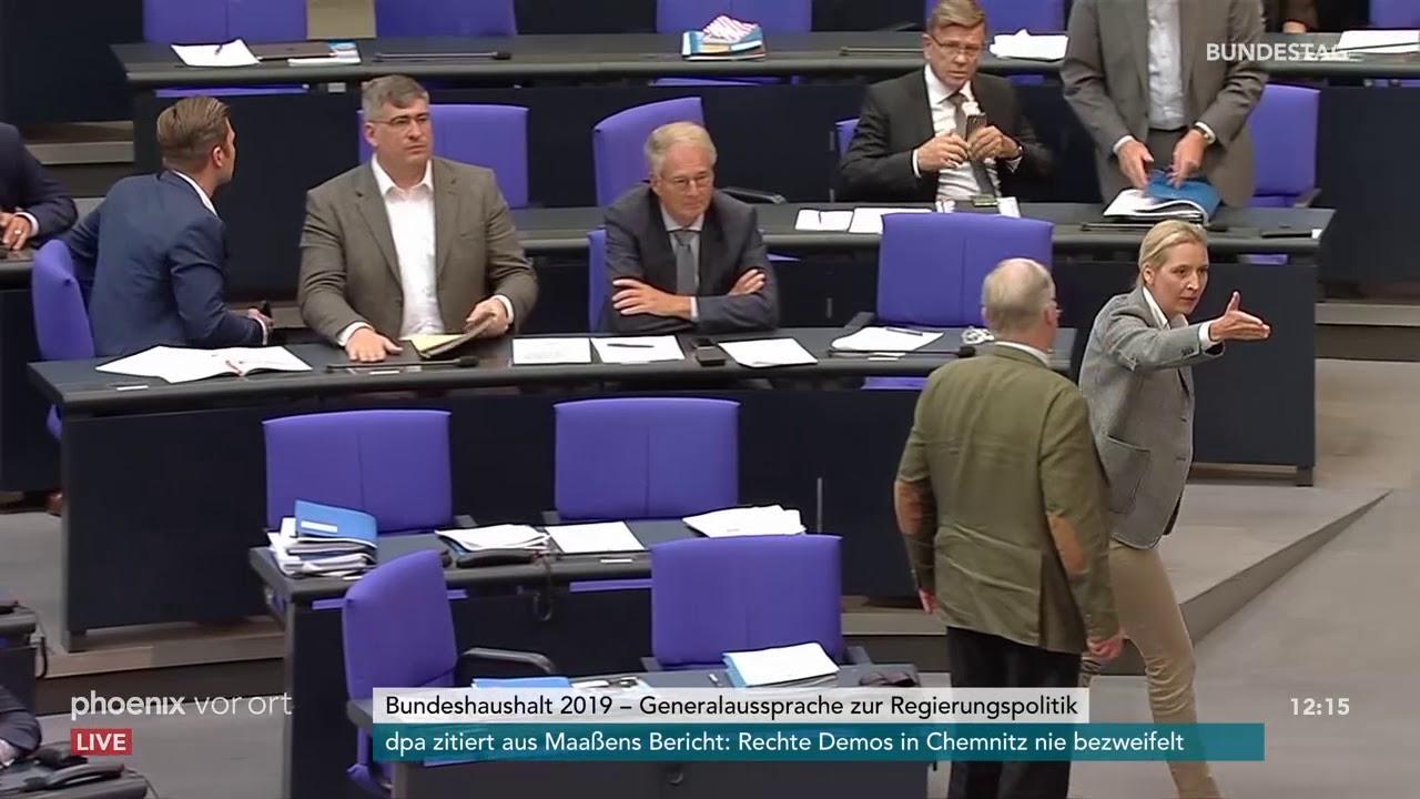AfD-Fraktion verlässt Bundestag bei Rede von Johannes Kahrs, SPD, am 12.09.18