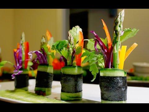 Vegan | Cucumber Rolls with Cilantro Pear Sauce | Tutorial
