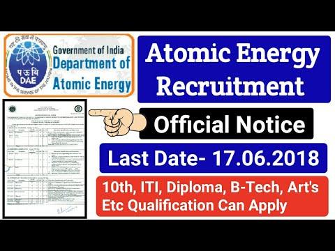 Department of Atomic Energy Recruitment 2018. IGCAR Recruitment For 10th, ITI, DIPLOMA, B-TECH post