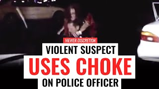 WARNING: Violent Suspect Uses CHOKE on Police Officer (Gracie Breakdown)