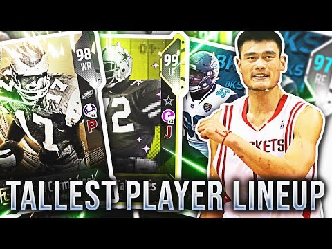 TALLEST PLAYERS LINEUP! NFL PLAYERS W/ NBA HEIGHT! Madden 18 Ultimate Team