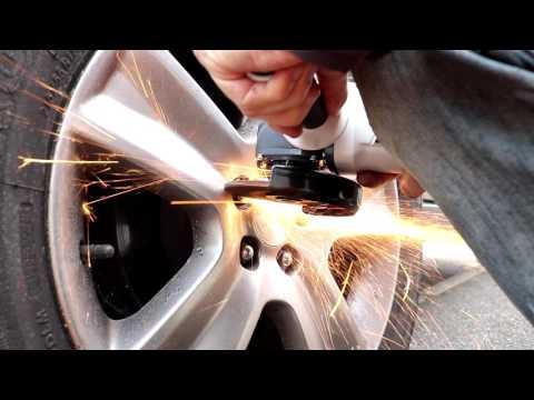 Alternative method to remove a locking wheel nut quickly.