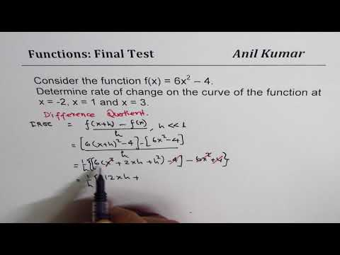 Find instantaneous rate of change of 6x^2 - 4 at x =  2 x = 1 and 3