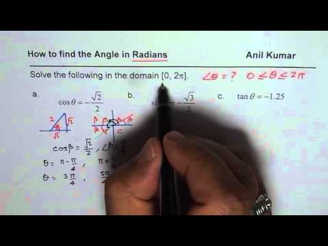 Determine angle in Radians for Trigonometric Ratio Negative Value