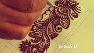 Learn long Arabic mehndi design step by step | mehndi for wrist / palm / full hand