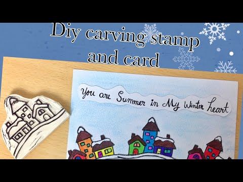 House stamp # Diy carving rubber stamp tutorial # winter card