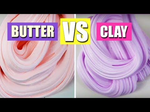 How To Make Clay Slime VS How To Make Butter Slime! 🌈 No Borax! No Liquid Starch! 🍭