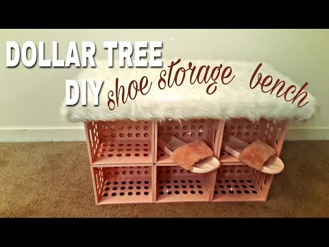 DOLLAR TREE DIY: SHOE STORAGE FAUX FUR BENCH🍥💐🐩