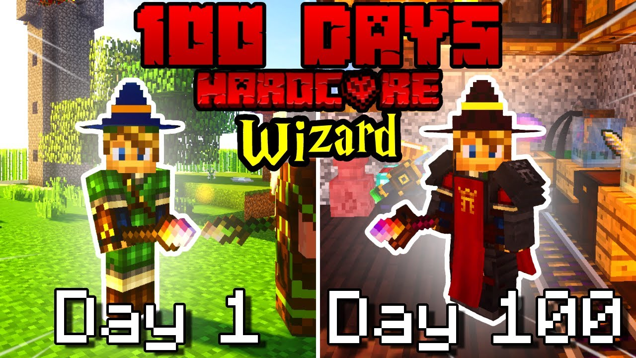 I Survived 100 Days As a WIZARD on HARDCORE Minecraft