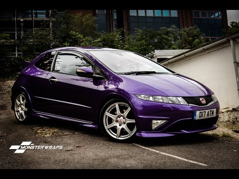 Monsterwraps   Honda Civic Type R Gloss metallic purple - Car wrap uk