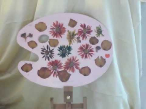 Art Palette Wood Painted Pink Decoupauge Dried Flower