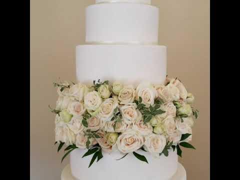 White Wedding Cake with Blush Roses