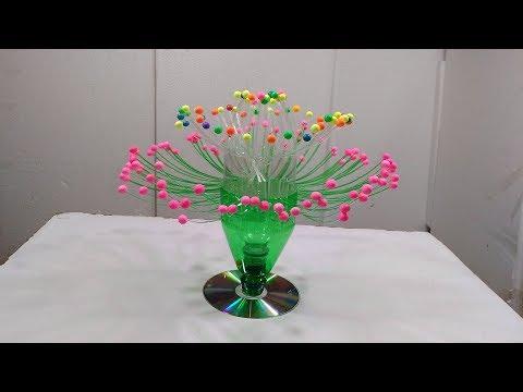 Empty Plastic Bottle Vase Making Craft, Water Bottle Recycle Flower Vase Art Decoration Crafts
