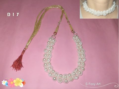 DIY Pearl Beads choker necklace / create your own choker necklace at home / easy and cheap
