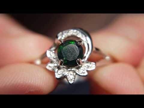 Black (Dyed) Opal Ring Size US 9 & UK R 1/2 - Sterling Silver Plated with White Gold - $58 or £36