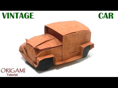 Origami Vintage Car tutorial (Akira Kawamura) 折り紙  ヴィンテージカー  оригами Старинная машина Auto
