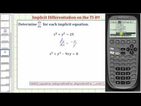 Perform Implicit Differentiation on the TI-89