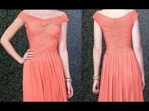 How to make Ruched Off the shoulder V Neck 2 layered Zigzag skirt Party wear Gown with side drape