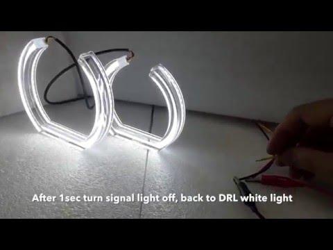 BMW E90 E92 E93 F30 style Dual color angel eye white amber light Crystal
