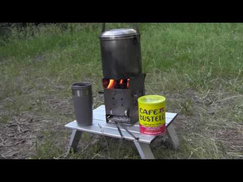 Firebox Stove & Zebra Pot Boiling Water For Coffee Using Wood Pellets As Fuel