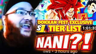 AMAZING? HORRIBLE? REACTING TO 59 GAMING'S DOKKANFEST TUR TIER LIST! (DBZ: Dokkan Battle)