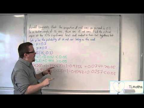 OCR MEI Statistics 1 6.08 Two-Tail Hypothesis Testing - Critical Region Method