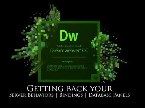 Adding the Server Behaviors, Bindings, Databases panels back into Dreamweaver CC