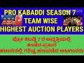 pro kabaddi season 7 team wise highest auction amount kabaddi players/ಆವೃತ್ತಿ ೭ ಗರಿಷ್ಠ ಹಣಪಡೆದ ಪಟುಗಳು