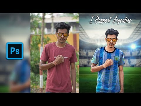 Fifa Football World Cup special photo Editing For Beginners  Photoshop    Dress & Background Change