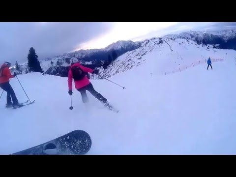 Crazy Woman Crashes into Snowboarder and Skier