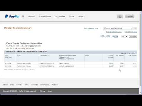PCBA: Create monthly financial report in PayPal