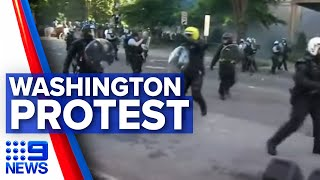 Washington protests: Police in force before Trump's address | 9 News Australia