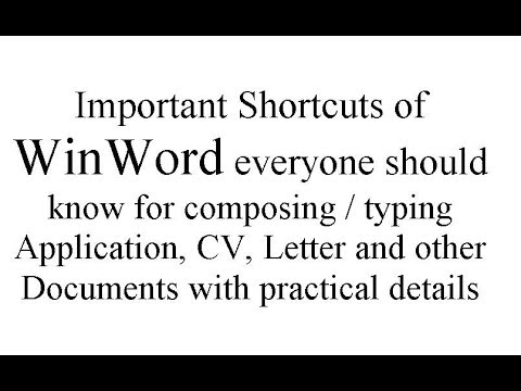 MS Word All Important Keyboard Shortcut Keys for Word 2003 to 2016  - Lunar Computer College