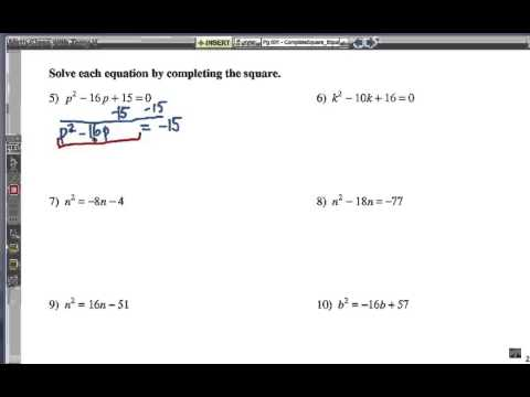 Completing the Square: for Solving Equations