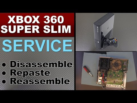 XBOX 360 SUPER SLIM disassemble, Repaste, service and fan MOD and cleaning