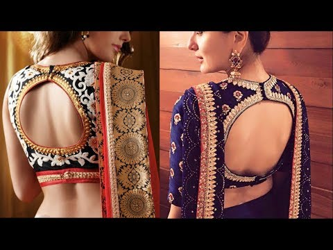 Latest New Designs Saree Low Back Neck Blouse DesignsBridal Pattu Saree Blouse Designs - She Fashion