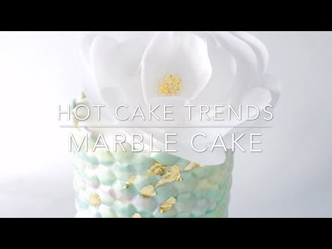HOT CAKE TRENDS Marble Cake with Wafer Paper Flower - How to make by Olga Zaytseva