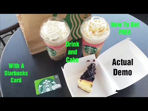 How to Get Free Drink and Cake with a Starbucks Card - Actual Demo