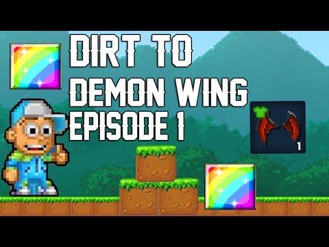 Pixel Worlds | Dirt To Demon Wing !!! Episode 1 !!! Making Magic Stuff