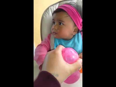 Deaf child 14 month old Aria practicing spoken language
