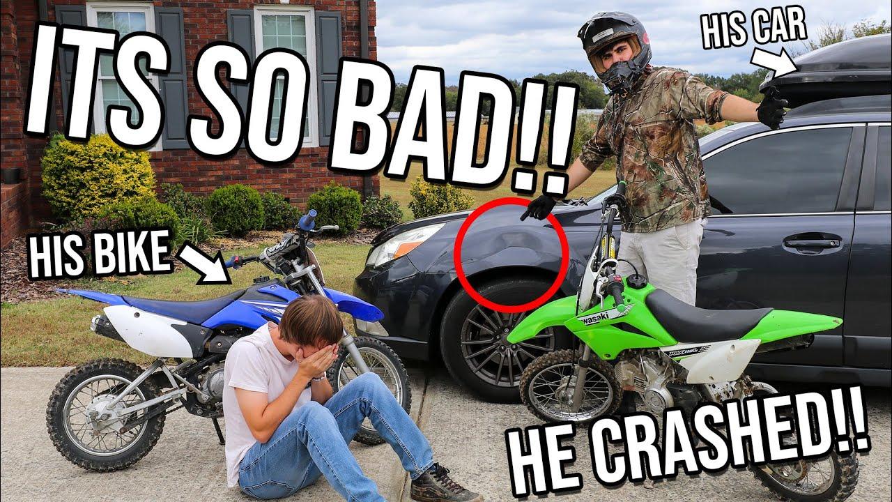 WE CRASHED INTO HIS CAR! *Dirt Bike FAIL*