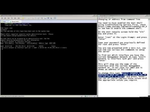 Changing the ESXi Management IP address using the command line