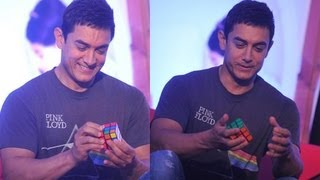 Watch Aamir Khan Solving Rubix Cube   Amazing Speed