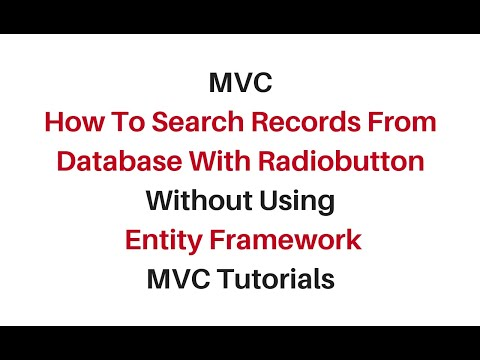 mvc search data radio buttons c#4.6 without using Entity framework